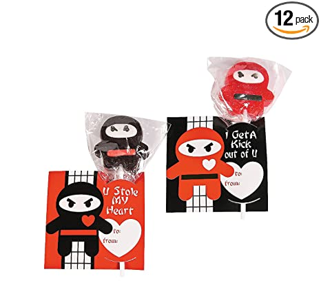 Fun Express Ninja Valentines, Includes Lollipops with Cards, 12 Count