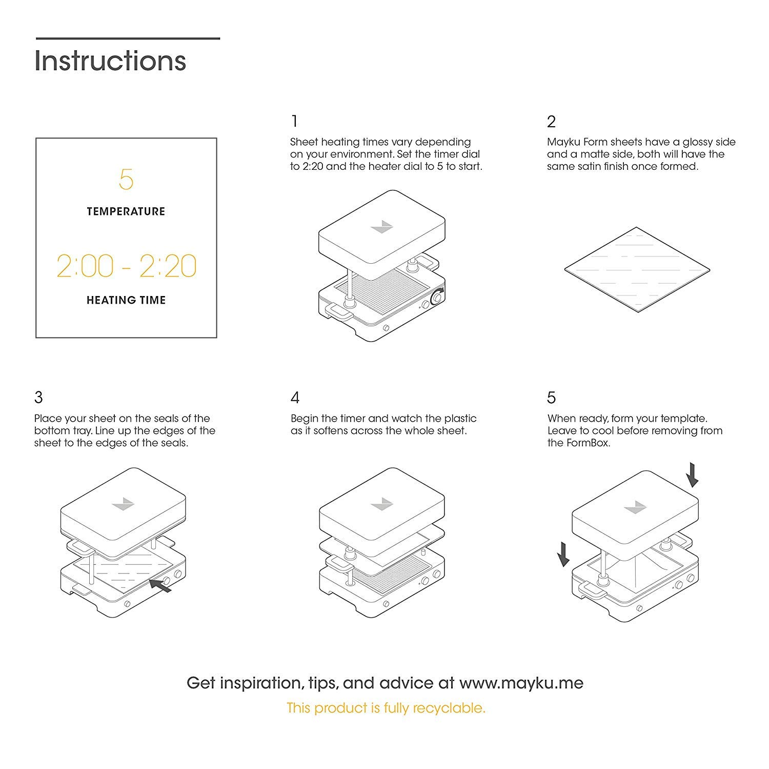 a Desktop Vacuum Former That Brings Your Ideas to Life. Mayku Form Sheets 30 Pack for The Mayku FormBox