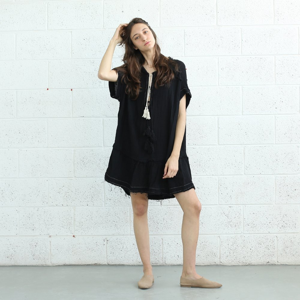 Black Pon-Pon Dress , V Neck Tassel Trim Dress ,TASSEL Dress.