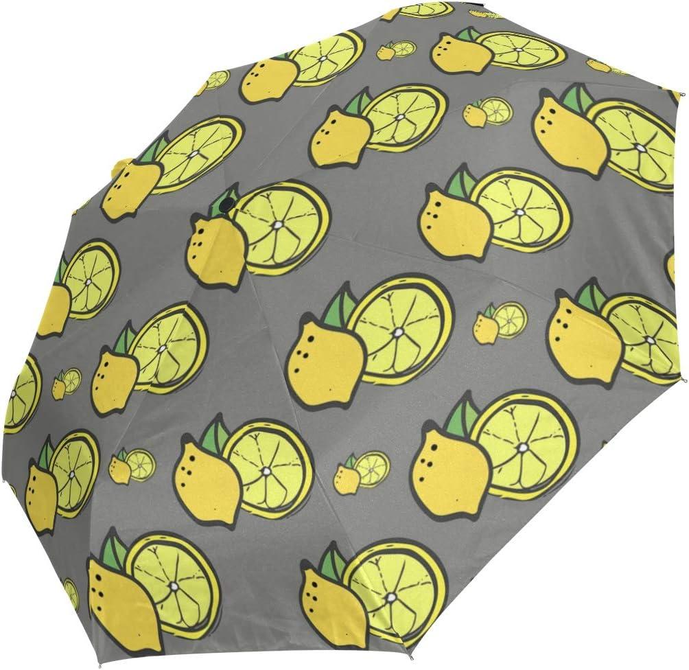 Yellow Fresh Lemon fashion print cute Windproof automatic tri-fold umbrella sun UV protection Sun umbrella