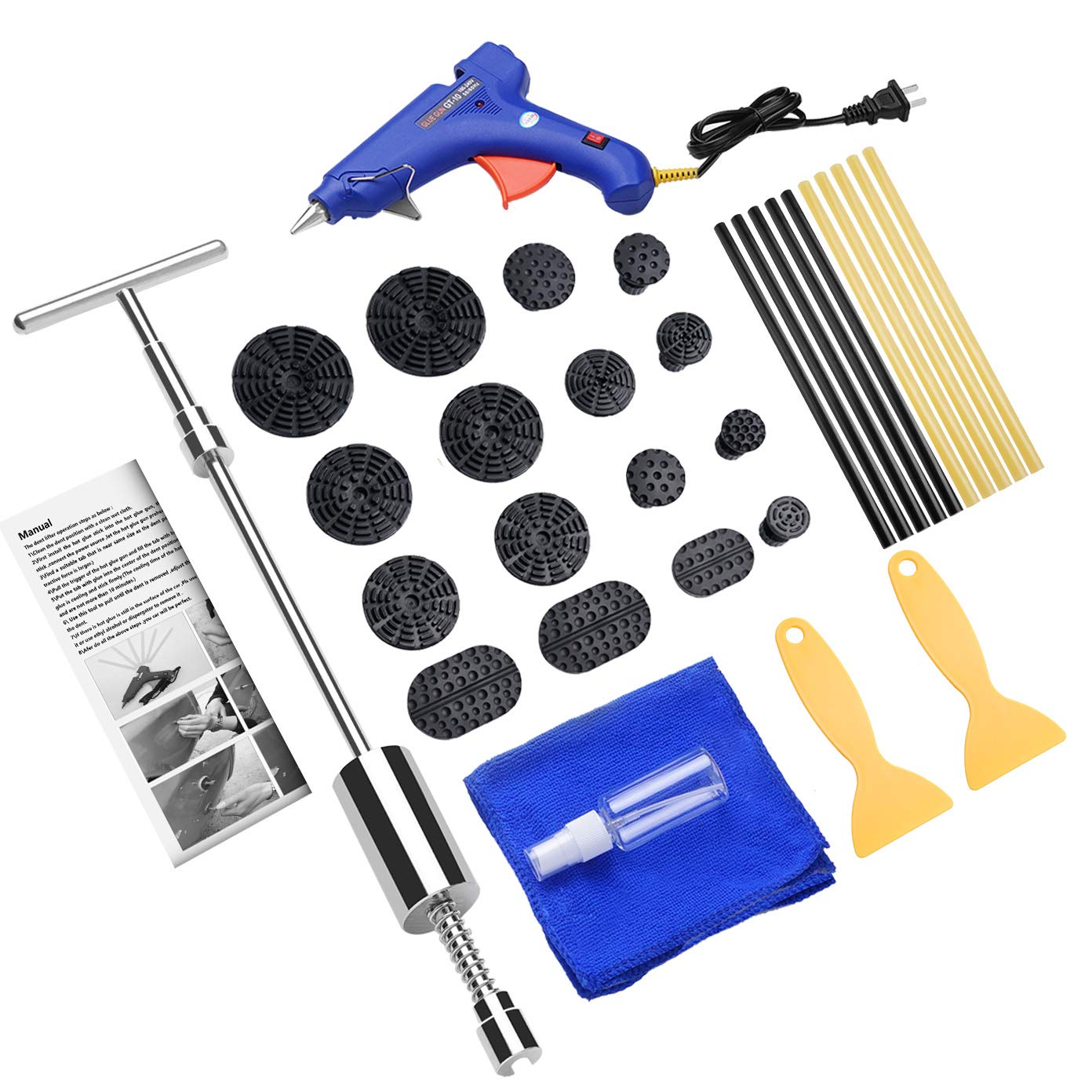 BETIMESYU 32PCS Dent Remover Repair Tools Kits Dent Puller Paintless Slide Hammer with Glue Gun Sticks for Vehicle Car Auto Body Damage Remover