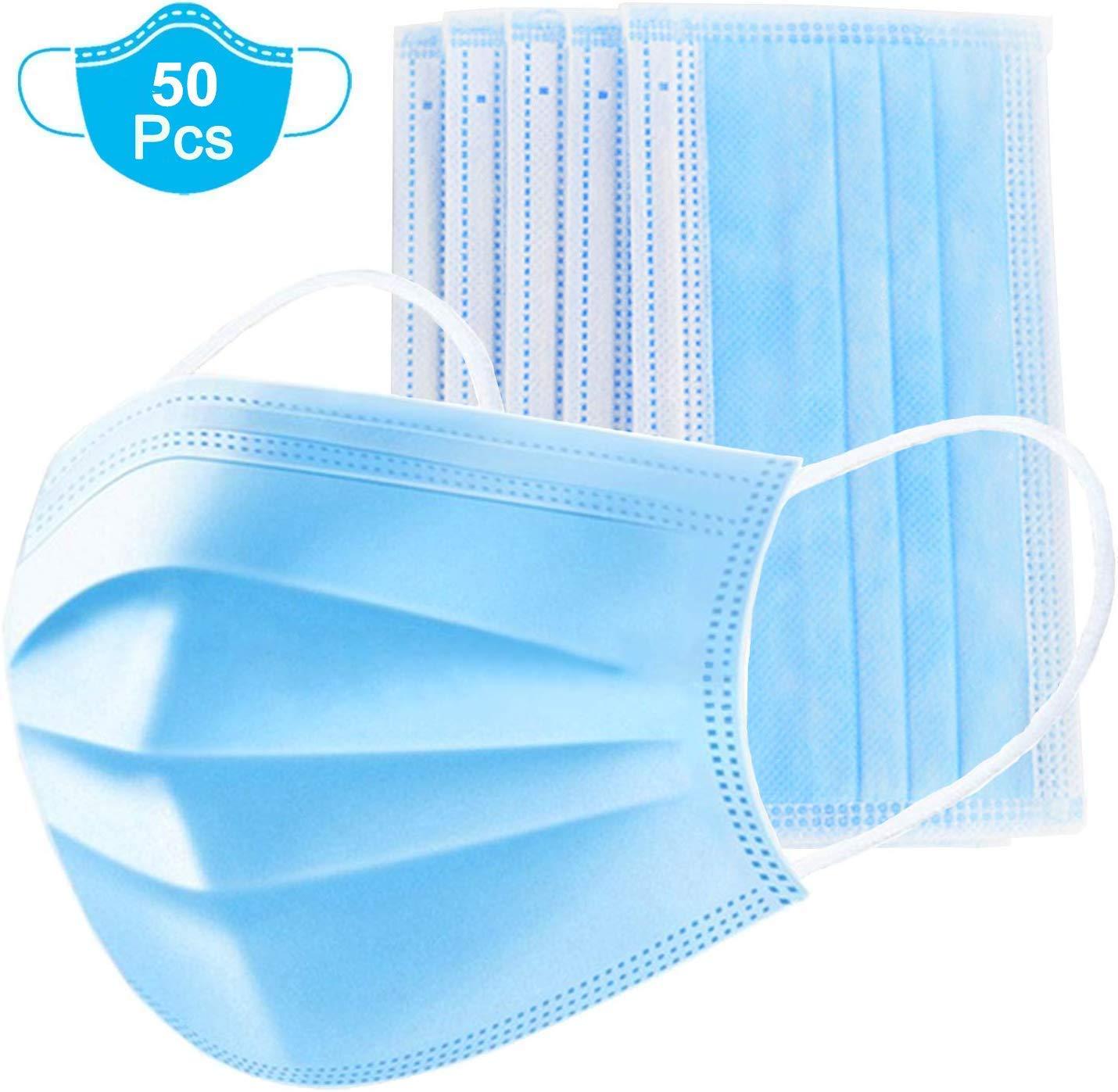 Mbuynow 50pcs Mascarillas desechables Antipolvo Transpirable Antiniebla Antipolución Hombres y mujeres Máscara azul de tres capas con gancho para la oreja Clip de nariz