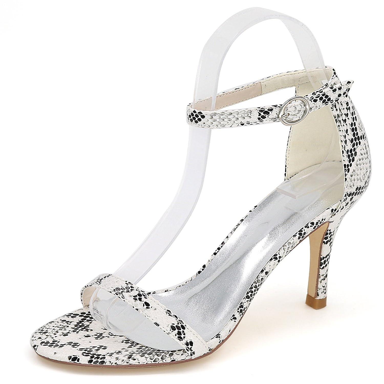 blanc Eleboeb Femmes Chaussures De Mariage Faible Faible Mid Court Pompe Peep Toe Satin Sandales Les Les dames   8.5cm Talon  le moins cher