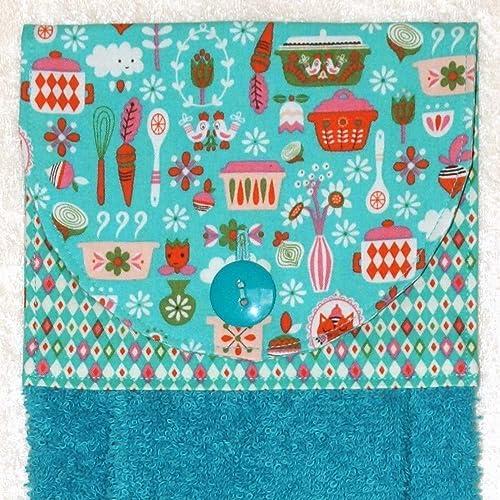 Hanging Kitchen Hand Towel   Kitchen Tools U0026 Vintage Pyrex Fabric   Teal  Blue, Olive