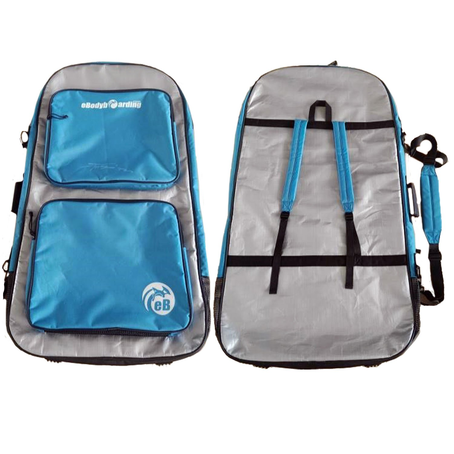 eBodyboarding Double Padded Reflector Wet/Dry Bag - Silver with Blue Steel Pockets