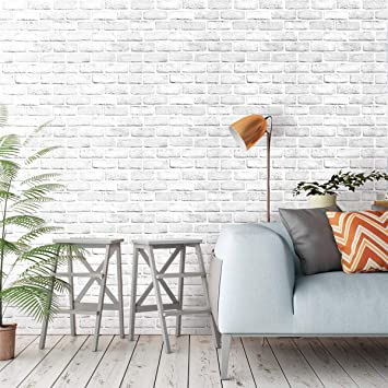 Akea White Gray Brick Wallpaper 17 7x236 2 Inch Self Adhesive Removable Durable Peel And Stick Faux Brick Contact Paper Home Decoration Wallpaper Amazon Canada