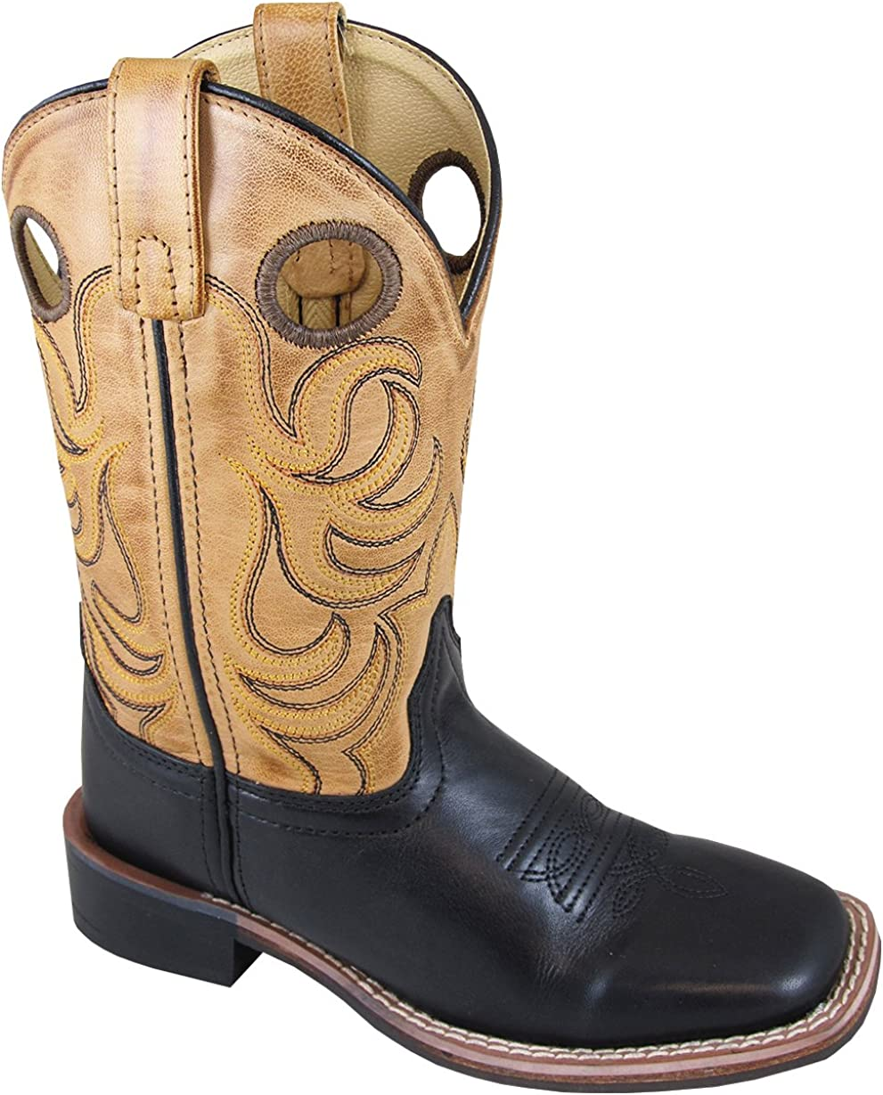 Smoky Childrens Kids Jesse Brown Distress and Brown Crackle Leather Western Cowboy Boot