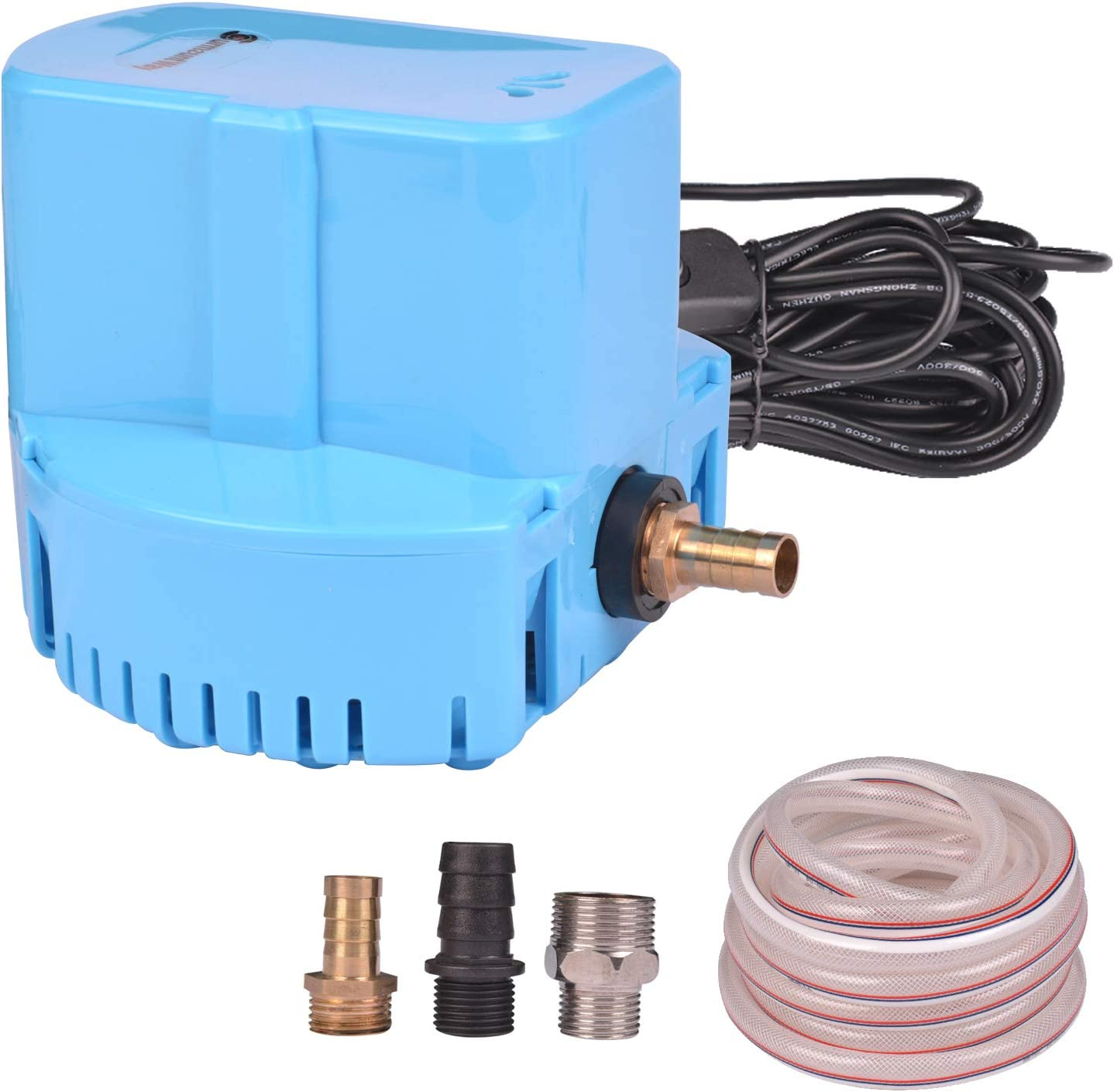 Pool Cover Pump Above Ground Submersible Sump Pump 1200 GPH 1/6 HP 110V Water Removal Drain Pump with 16' Drainage Hose,25' Cord,3 Adapters