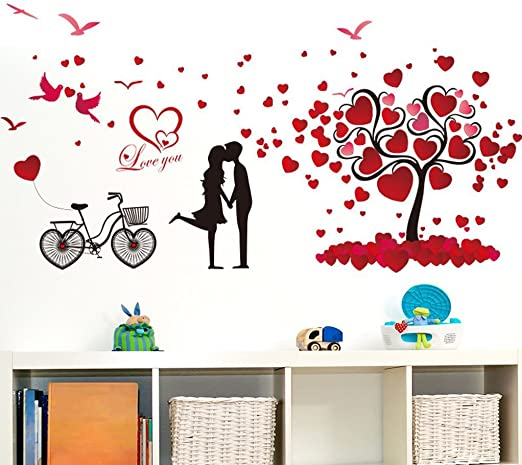 Wall Stickers Love Birds Heart Bedroom Quote Art Decals Vinyl Decor Room Home