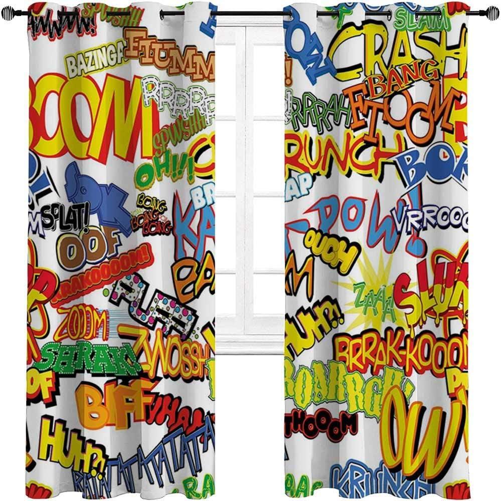 HouseLookHome Blackout Curtain Superhero Blackout Curtain Panels Retro Comic Book Expressions Humor Icons Cartoon Scream Crash Pow Vintage Design 2 Grommet Top Curtain Panels,52