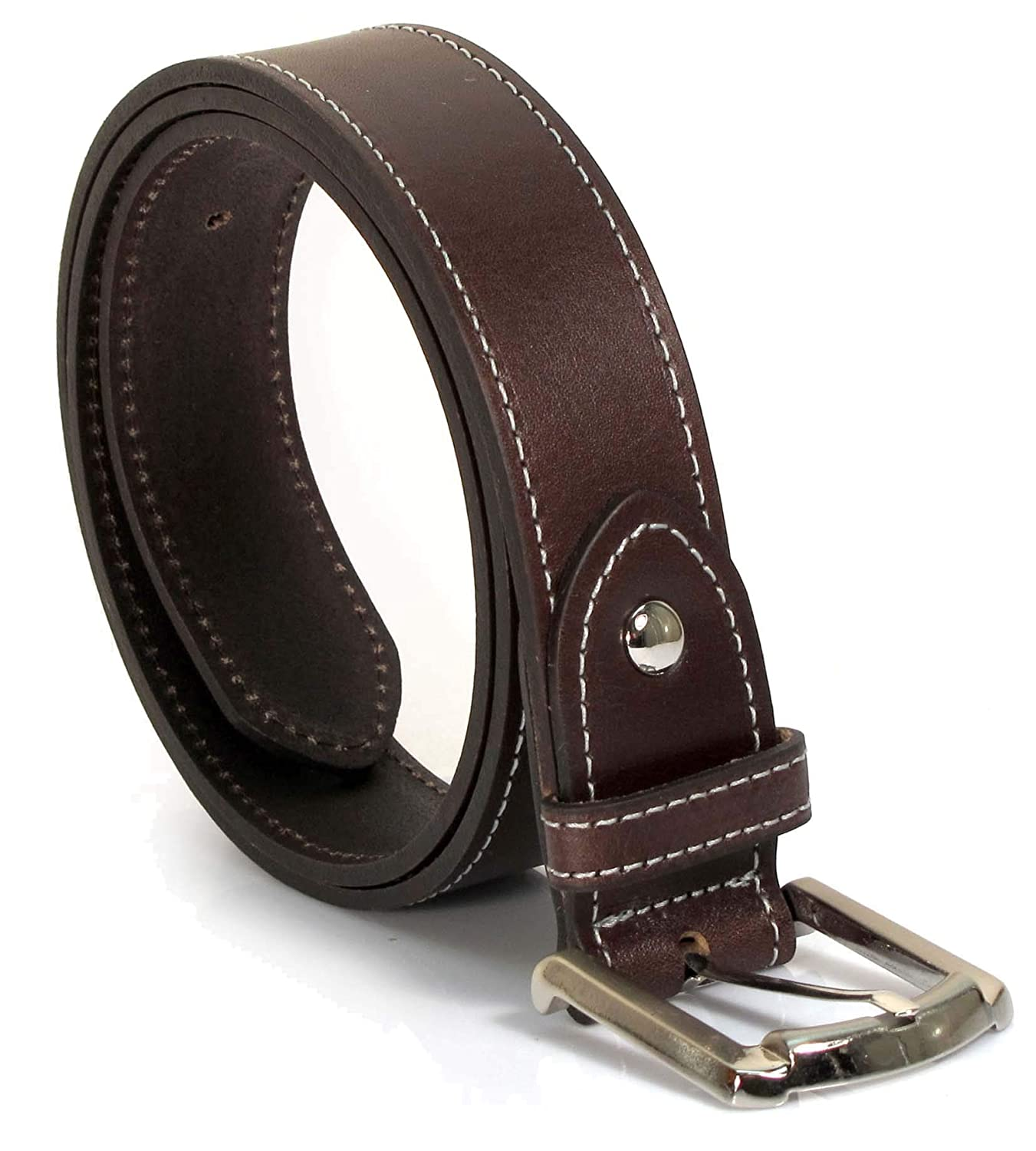 Mens Real Genuine Leather Belt Black Brown White 1.25 Wide S-XL Casual Jeans CU9