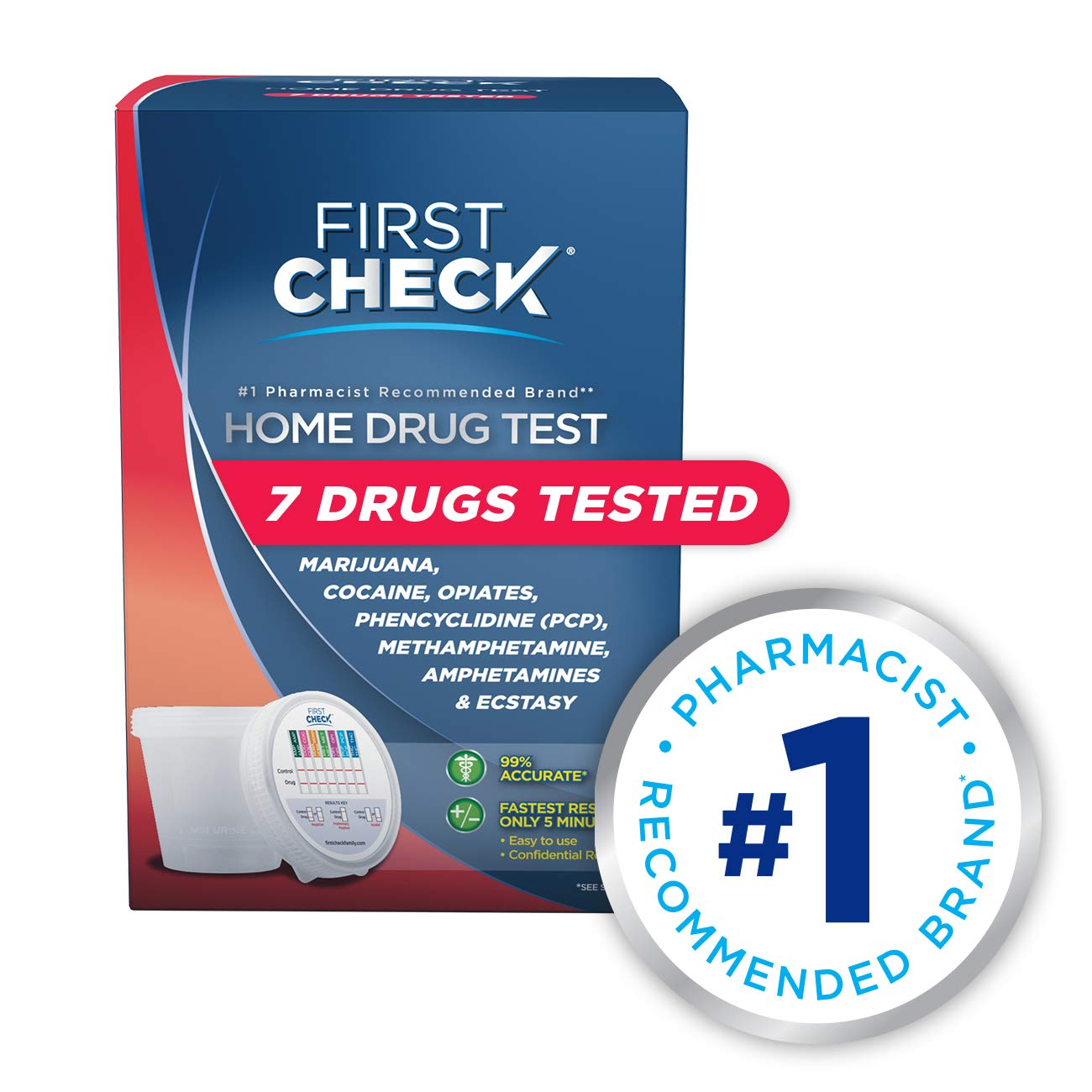First Check at Home Drug Test Cup Kit, 7 Drug Panel, 1 Count