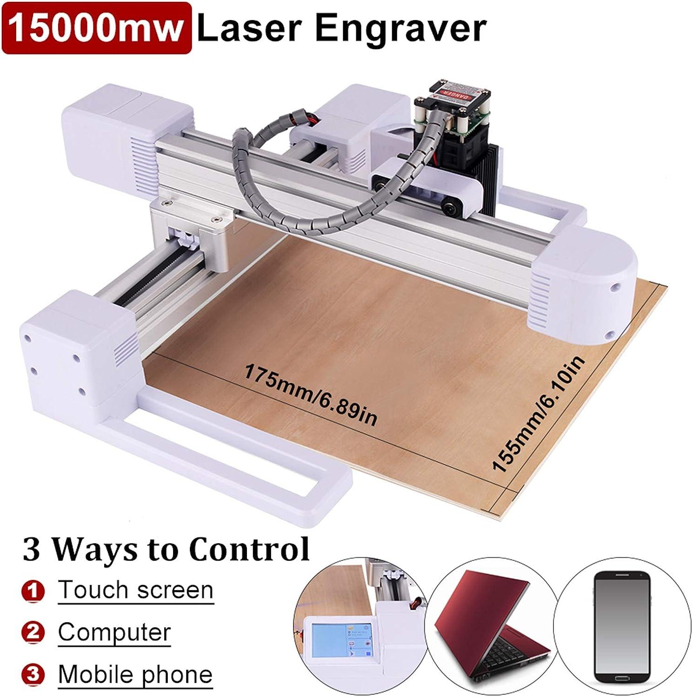 grabador s/úper f/ácil de instalar y operar para tallar y cortar madera y pl/ástico 15 W 15000mw M/áquina de grabado l/áser grabador CNC con /área de trabajo de 17,5 x 15 cm