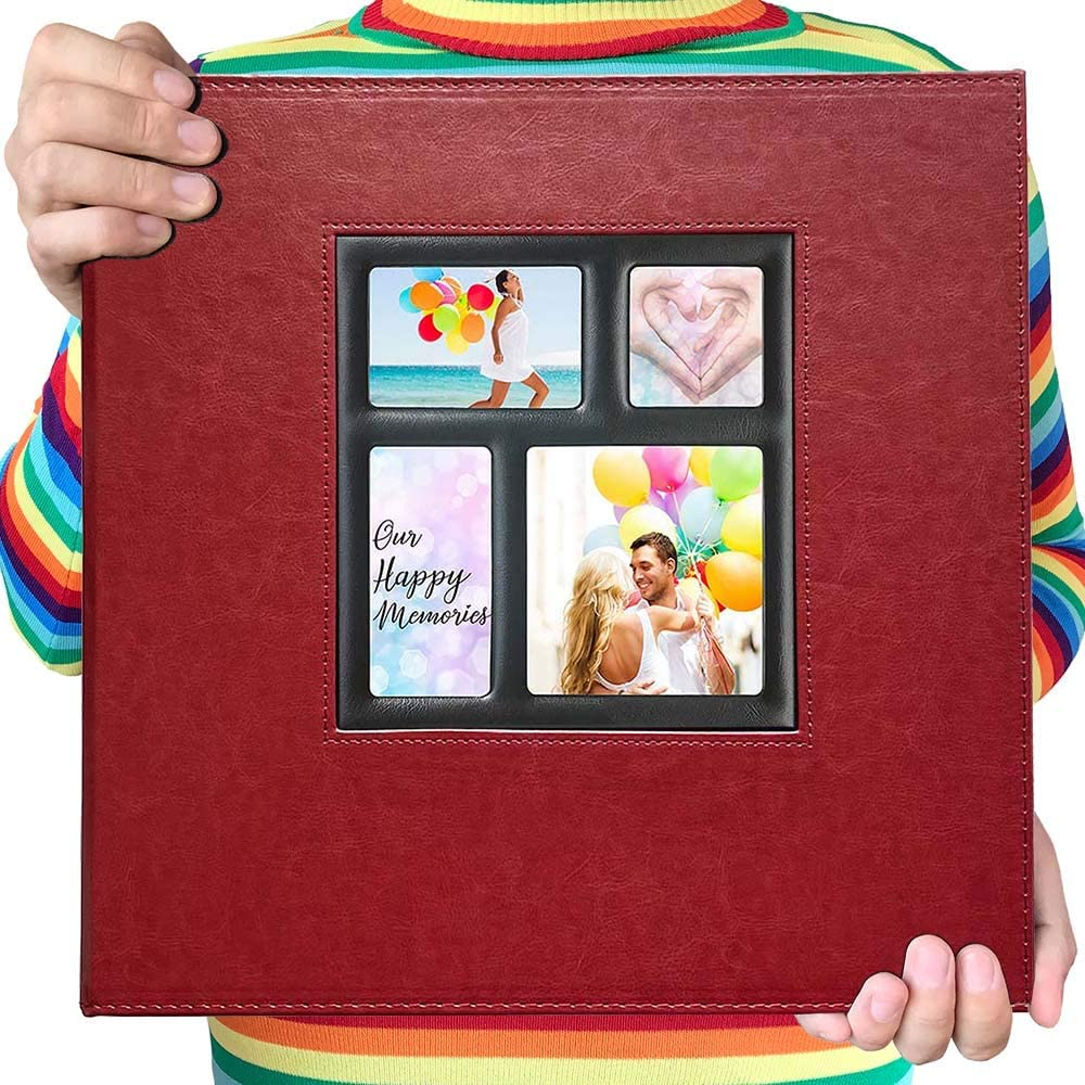 Black Wooden Cover Photo Book for Gift Dried Flower Photo Album 4x6 Holds 300 Photos with Memo