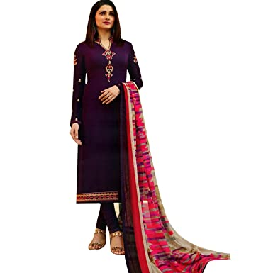 b41f80f17d84 Partywear Italian Crepe Embroidered Salwar Kameez Womens Indian ...