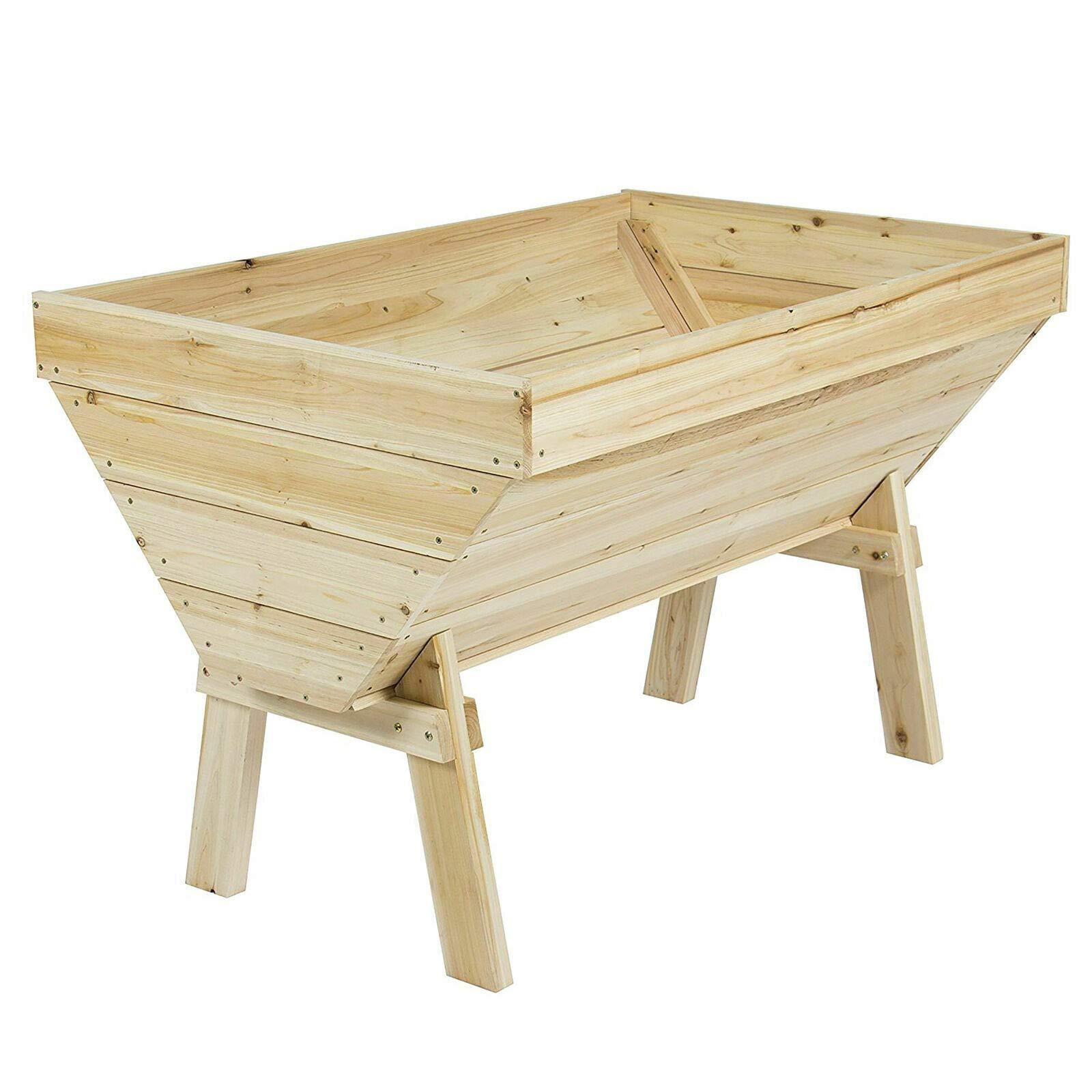 RX-789 Wood Raised Vegetable Garden Bed Elevated Cedar V Shape Planter Box Brown 4Ftx3Ft