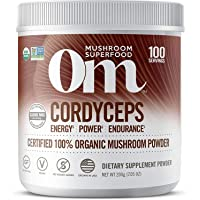 Om Organic Mushroom Superfood Powder, Cordyceps, 7.05 Ounce (100 Servings), Energy and Endurance Support Supplement