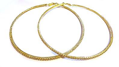 Amazon Com Large 4 Inch Hoop Earrings Crystal Rhinestone Hoop