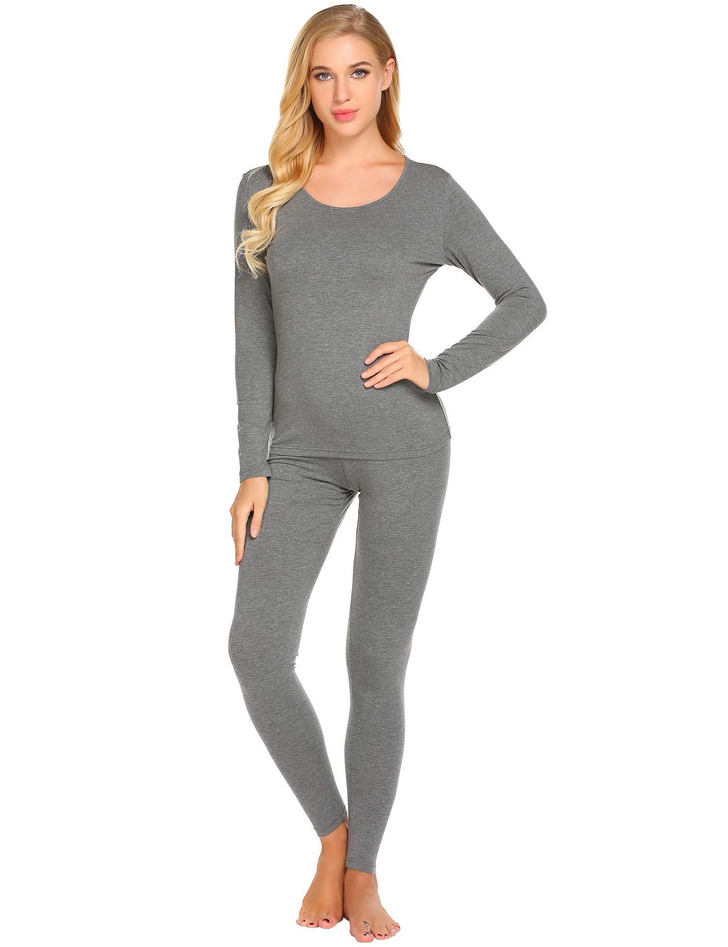 Ekouaer Women's Long Thermal Underwear Winter Base Layering Set Slimming Top & Bottom Pajama S-XXXL