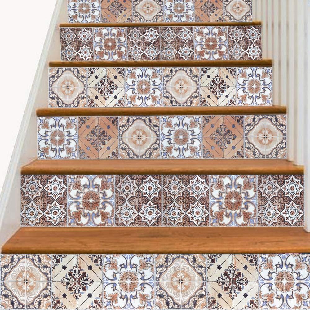 階段ステッカーDIY壁ステッカーのリフォーム環境にやさしい、階段のためのボヘミアン、キッチンリアバッフル、床18個18cm * 100cm B07JMXVDL3