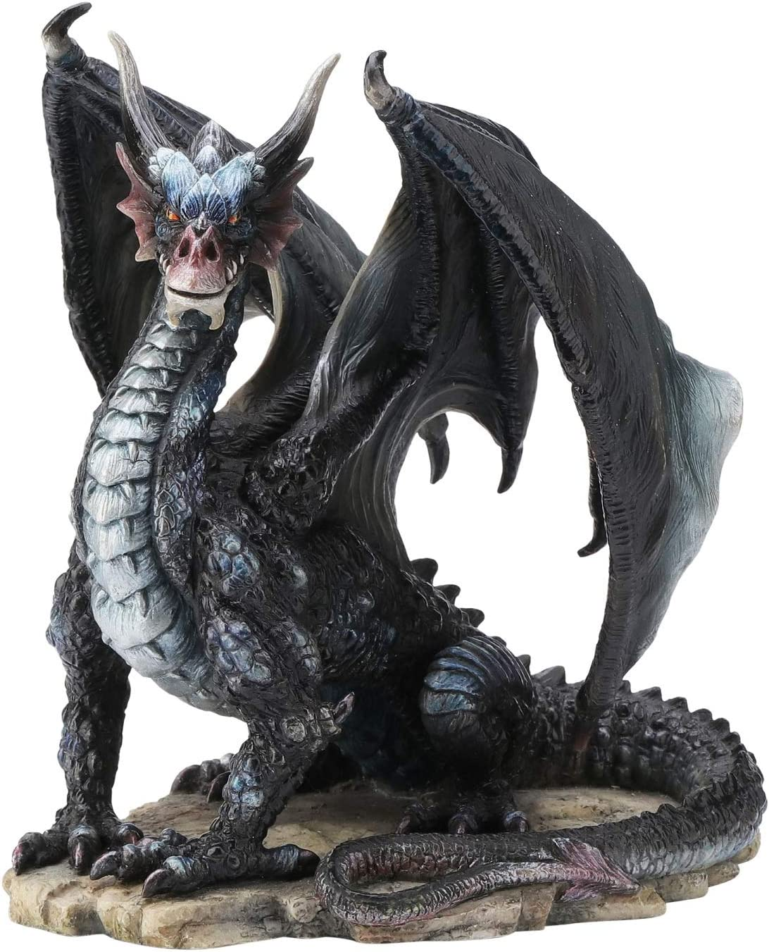 WU Rare Black Dragon Upon Rock Statue Sculpture Figurine