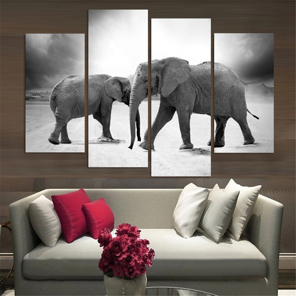 Wall art elephant - Amazon Com 4 Piece Home Decor Oil Painting Two Elephants Hd Print On Canvas Wall Art Picture For Living Room No Frame Posters Prints