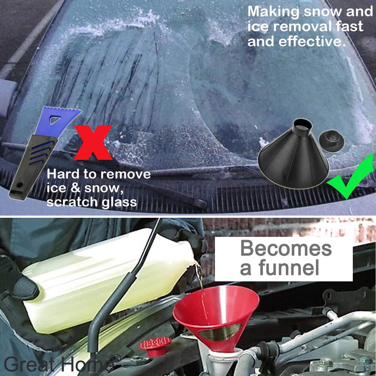 Black Great Home Cone Scrape A Round Ice Scraper Funnel Car Windshield Snow Scraper Cone Shaped Magic Ice Scrapers Shipping by FBA(Spring Week