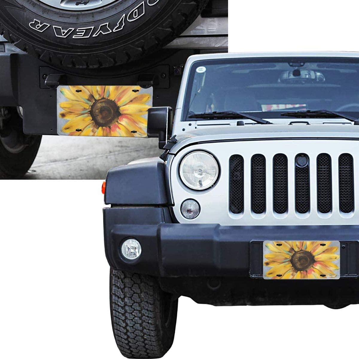 Sketch Sloth Sunflower Car Tag Cover Decorative License Plates for Front of Car Durable Metal Car Plate for Women//Girls//Men//Boys Vanity Gifts 6 X 12 in Dujiea License Plate Aluminum