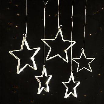 Fensterbeleuchtung Weihnachten Led.Led Lichterkette Sternenkette Fensterbeleuchtung Weihnachten 5 Sterne Mit 75 Warm Weißen Leds