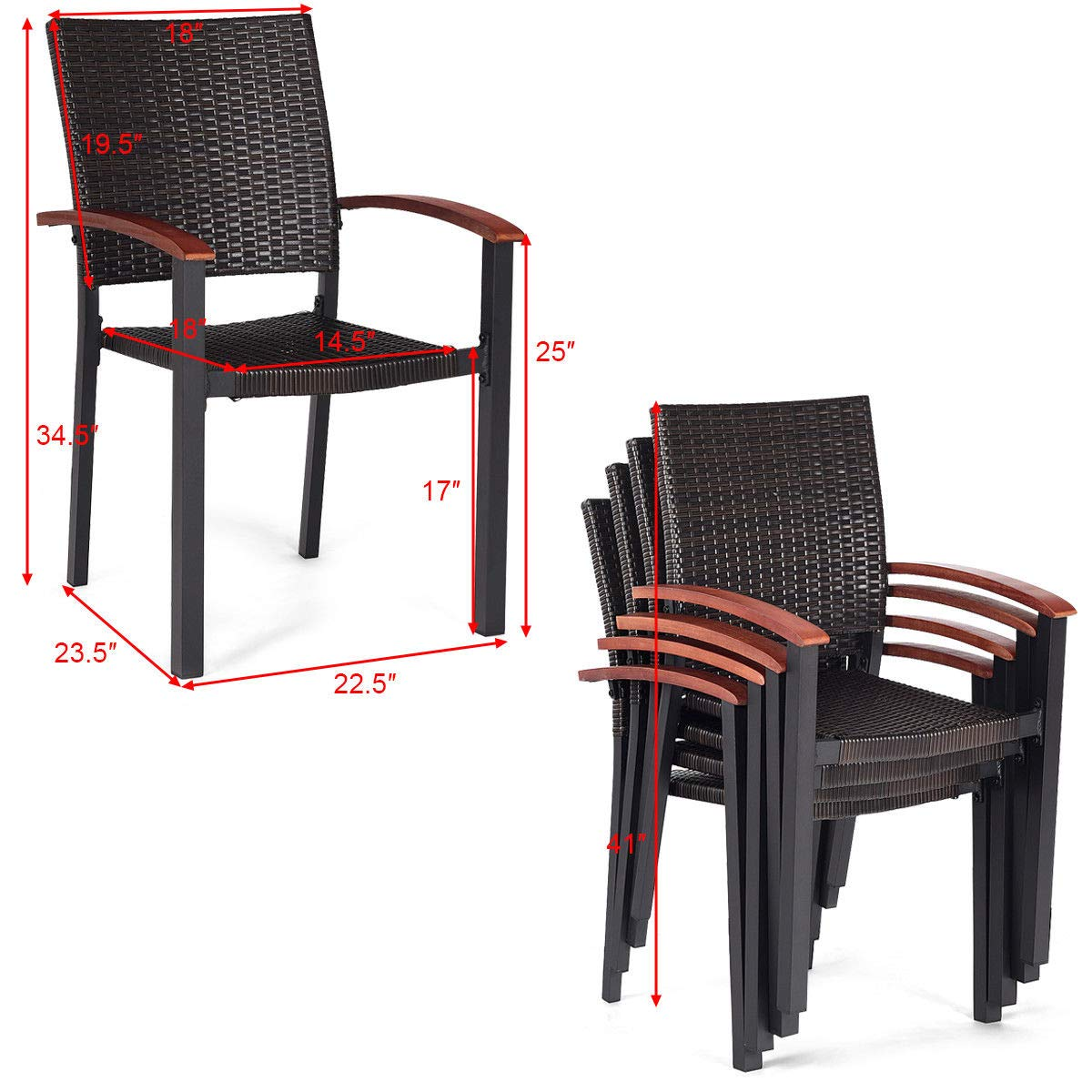 Amazon.com: 4 sillas de comedor de ratán para patio ...