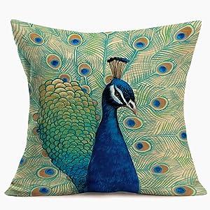 SmilyardProud Peacock Decor Throw Pillow Case AnimalPeacockFeathers Print Decorative Pillow Covers 18x18 Inch Cotton Linen Farmhouse Cushion Cover for Home Sofa Bedroom (Peacock-2)