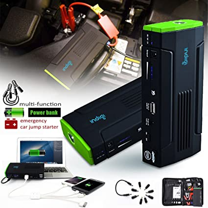 Amazon.com: Indigi Multi-Functional Heavy Duty Mobile 12800mAh Emergency Car Jump Starter Battery Booster Power Bank Kit: Automotive