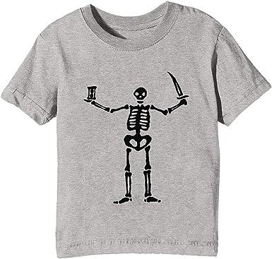 Negro Paño Pirata Bandera Gris Esqueleto Niños Unisexo Niño Niña Camiseta Cuello Redondo Gris Manga Corta Tamaño XS Kids Boys Girls Grey T-Shirt Extra Small Size XS: Amazon.es: Ropa y accesorios