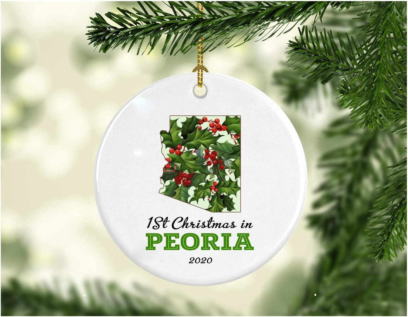 """Christmas Holiday 2020 Ornament Collectible First 1st Season Living in Peoria Arizona Christmas Ornaments Tree Christmas in Our New Home Xmas Present MDF Plastic 3"""" White"""