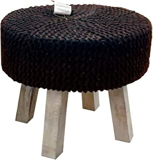 Round Wooden Stool Chair, Knitted Pouf, Chocolate, Size: 42x37cm