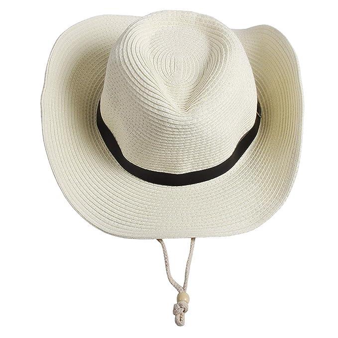 Sombrero De Vaquero Occidental De Paja para Hombre Playa para Hombres Gorra  De Especial Estilo ala 9e3fba491df