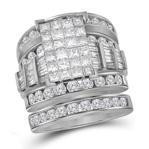 Bridal 14K White Gold Princess Diamond Cinderella Wedding Engagement Ring  Set 4 CT