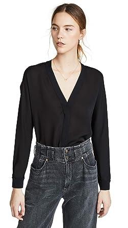 4e6af1f154236 Amazon.com  Vince Women s Rib Trim Silk V Neck Top  Clothing