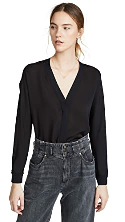 9bba947fcbabe3 Amazon.com  Vince Women s Rib Trim Silk V Neck Top  Clothing
