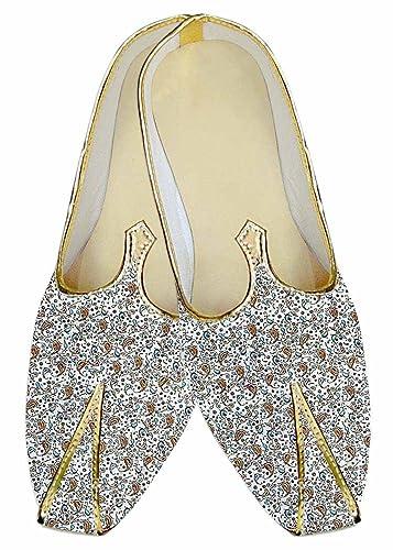 2c3d45cf9f441 Amazon.com | INMONARCH Mens Indian Bridal Shoes Cream Wedding Shoes ...