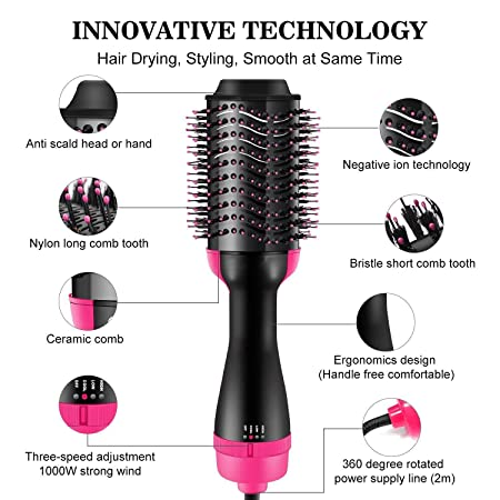 Hot Air Brush, One Step 3-in-1 Hair Dryer Styler Volumizer Multi-functional Straightening Curly Hair Brush with Negative Ions,Fast Drying,for Home and Salon Styling with 3 pcs Eyebrow Razors