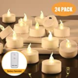 Cloudsky LED Tea Light 24 Pack, Battery Operated Remote Control Flameless Candles Flickering Bulb, Warm White Realistic Candle for Christmas, Halloween, Wedding, Home Decor