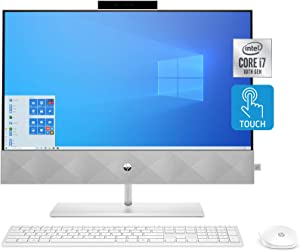 HP Pavilion All-in-One 24-inch Desktop Computer, Intel Core i7-10700T, 16 GB RAM, 1 TB Hard Drive & 512 GB SSD Storage, Windows 10 Home, Wireless Keyboard & Mouse (24-k0080, 2020 Model)