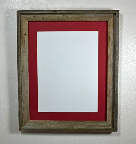748055e1ca8 Image Unavailable. Image not available for. Color  16x20 Picture Frame With  12x16 Red Mat in Reclaimed Wood ...
