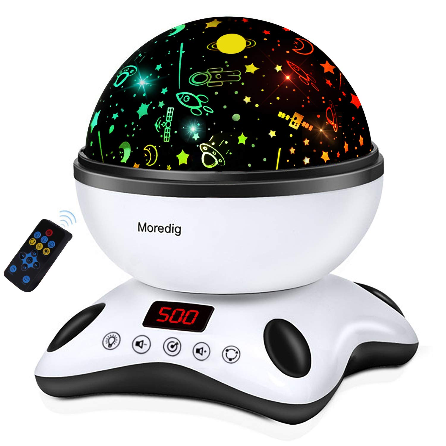 Moredig Night Light Projector Remote Control and Timer Design Projection lamp, Built-in 12 Light Songs 360 Degree Rotating 8 Colorful Lights for Children Kids Birthday, Parties - Black White by Moredig