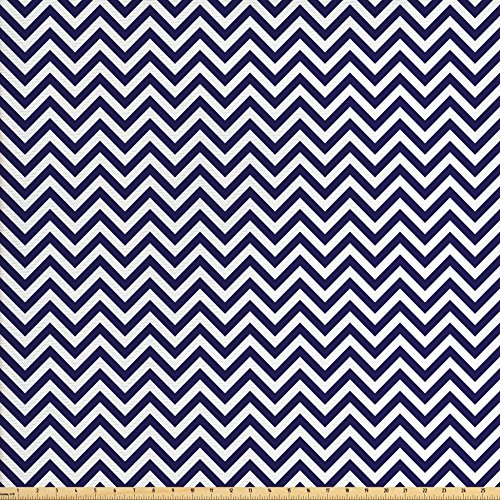 Navy Blue Fabric by the Yard by Ambesonne, Vertical Chevron Zig Zag Stripes Pattern in Classical Maritime Colors Retro, Decorative Fabric for Upholstery and Home Accents, Navy Blue White (The By Fabric Upholstery Yard Chevron)