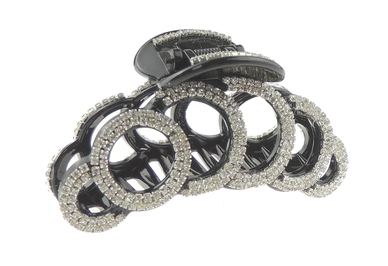 Extra sparkly nero con strass, sera da donna lusso 9cm capelli artiglio morsetto cerchi Glamour Girlz