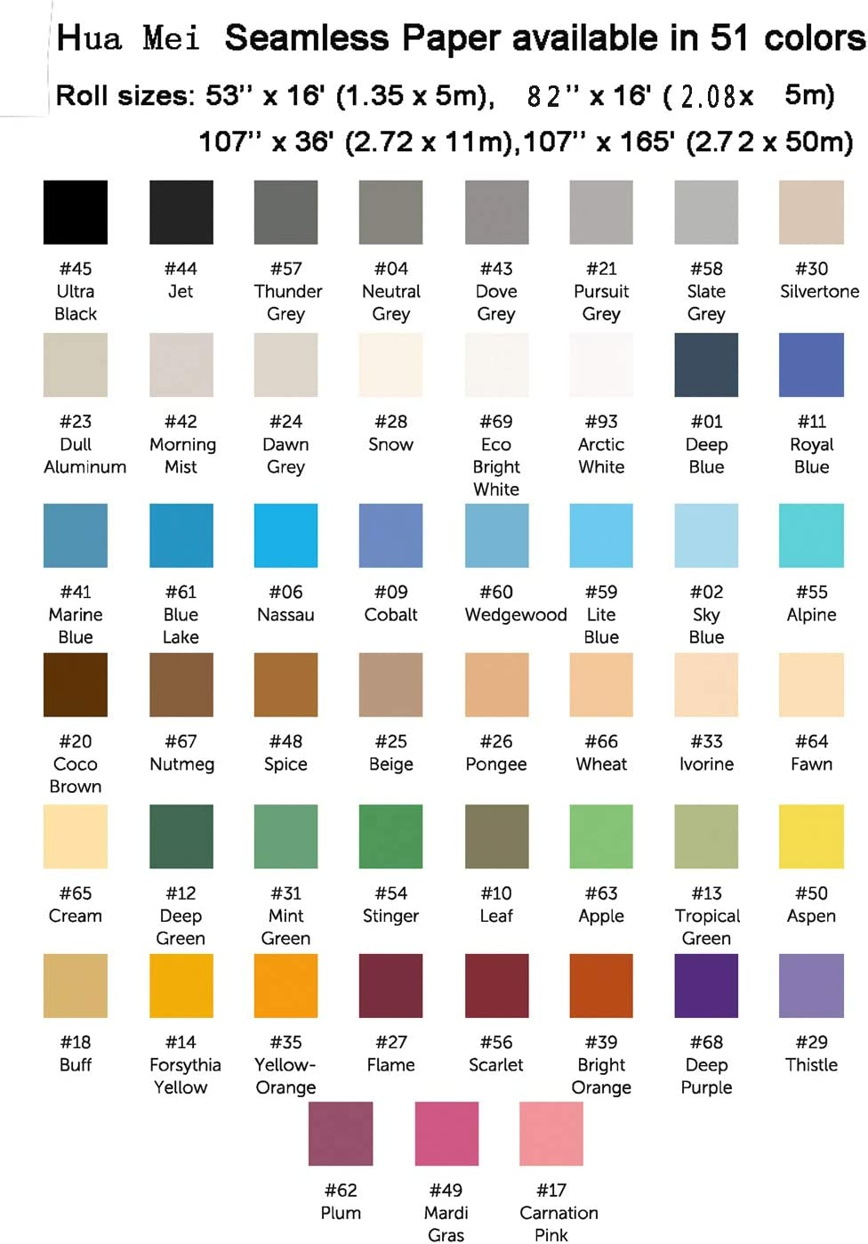 Huamei Seamless Photography Background Paper Sky Blue Photo Backdrop Paper 107-Inches Wide x 36-Feet
