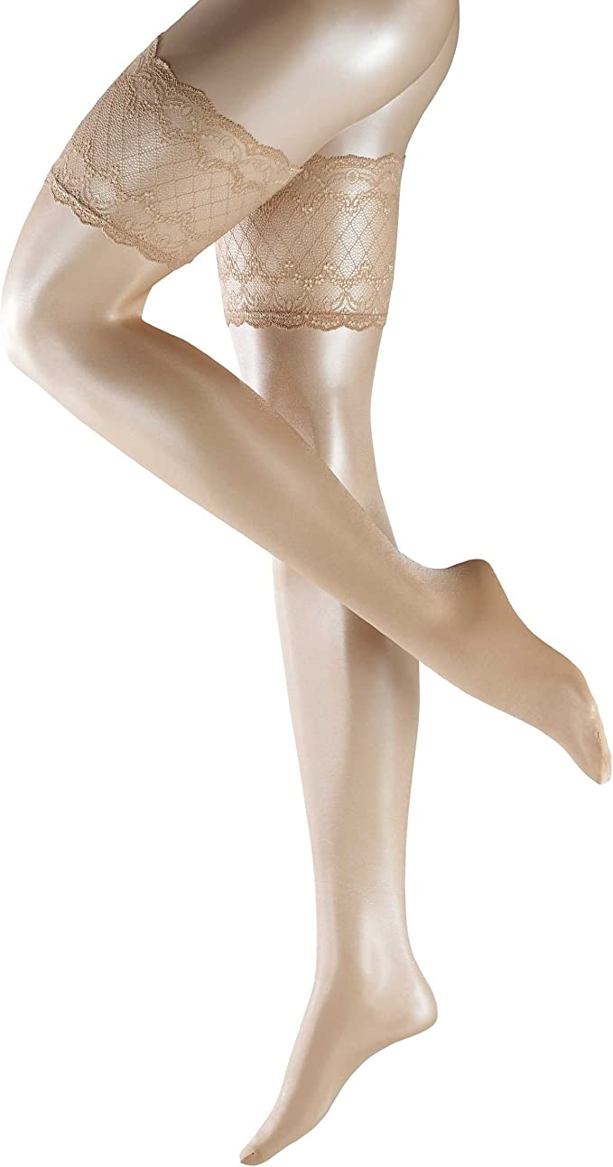Red Falke Womens Seidenglatt 15 Den Stay Up Transparent Floral Stockings
