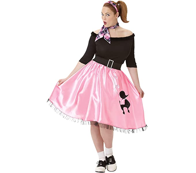 8d2a53df4502 Amazon.com: Amscan Adult Sock Hop Sweetie '50s Costume - Plus XXL ...